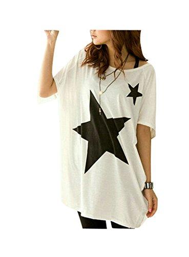 Maglietta Maniche Corte Donna - LATH.PIN Camicie e Bluse Estive, Batwing Dolman T-shirt Casual Top Bianco