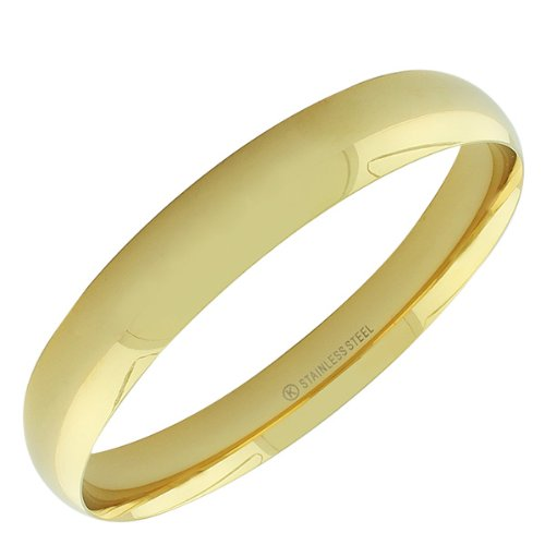 Stainless Steel Silver White Yellow Rose Gold-Tone Womens Classic Bangle Bracelet 0.50In - 0.75In (Yellow Gold-Tone 0.50In Wide)