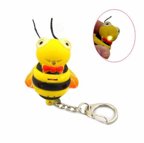 Novelty Cool Special Bee Shape Luminous White Led Light Keychain Keyring W/ Sound