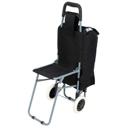 Maxam Trolley Bag with Folding Chair, Black (Camping Trolley compare prices)