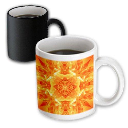 Mug_21924_3 Perkins Designs Abstract - Orange Kaleidoscope Digital Mandala Of Orange Glasses In Brightly Reflective Design - Mugs - 11Oz Magic Transforming Mug
