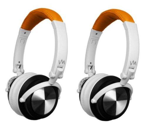2 Vm Audio Srhp3 Stereo Mp3/Iphone Ipod Over Head On Ear Headphones Orange/White