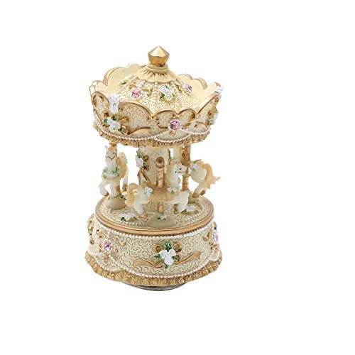 3-horse Carousel Music Box Melody Carrying You from Castle in the Sky(Laputa)-MP336(Yellow)