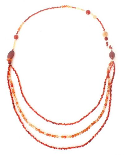 Carnelian and citrine strand necklace, 'On Fire'