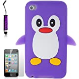 AOA CasesTM Purple Penguin Style Case Back Cover For Apple iPod Touch 4TH Gen Generation 4 4G + Mini Stylus
