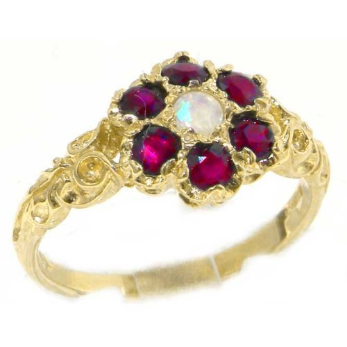 Victorian Ladies Solid 14K Yellow Gold Natural Fiery Opal & Ruby Daisy Ring - Size 9.75 - Finger Sizes 5 to 12 Available - Perfect Gift for Birthday, Christmas, Valentines Day, Mothers Day, Mom, Mother, Grandmother, Daughter, Graduation, Bridesmaid.