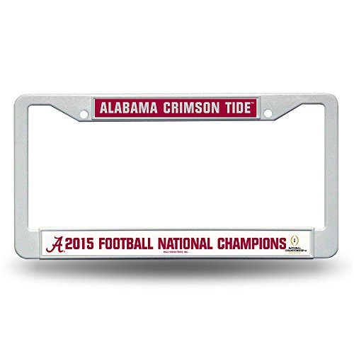 NCAA Alabama Crimson Tide 2015 CFP Champ Plastic License Plate Frame,12-Inch by 6-Inch,White