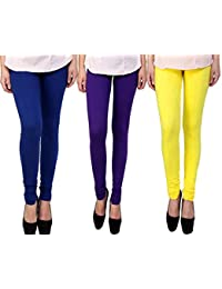 Snoogg Womens Ethnic Chic Inspired Churidar Leggings In Blue, Purple And Yellow