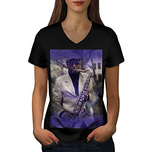 Rauchen-Saxophon-Musik-Spielen-Damen-NEU-Schwarz-S-2XL-T-shirt-Wellcoda