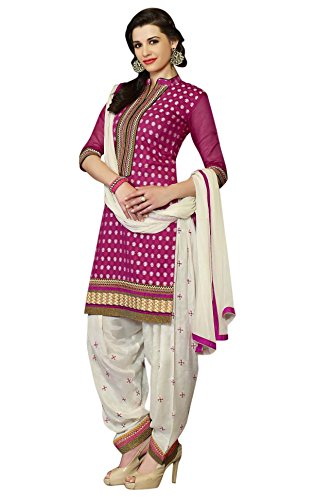 Vibes Womens Banarasi Chanderi Patch Work Dress Material Dress Material (V292-2866 _Pink _Free Size)