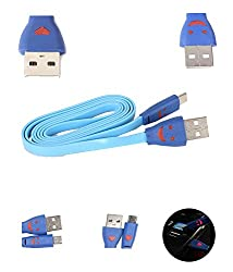 ApeCases Branded Universal Micro LED Lighting Smile Face Design USB CHARGING Sync Data Cable for Samsung Nokia Lg Micromax sony HTC (BLUE)