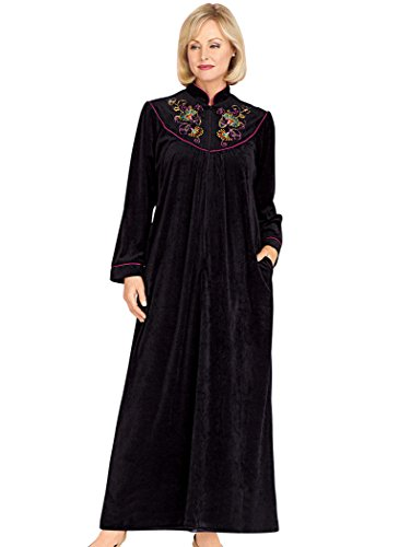 Women's Embroidered Velour Robe