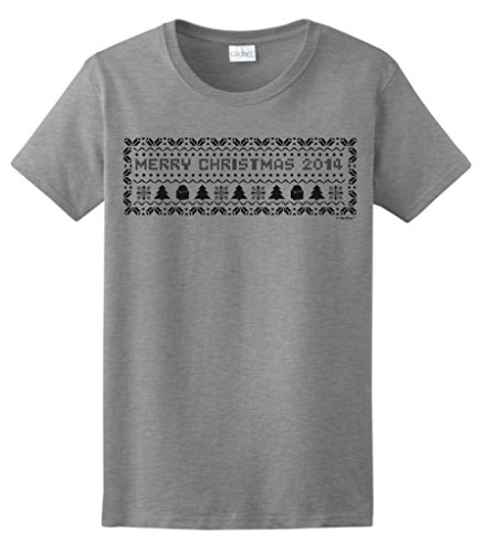 Christmas 2014 Ugly Christmas Sweater Banner Ladies T-Shirt Large Sport Grey