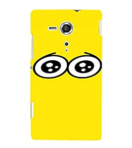 PrintVisa Cartoon Eyes Emotion 3D Hard Polycarbonate Designer Back Case Cover for Sony Xperia SP