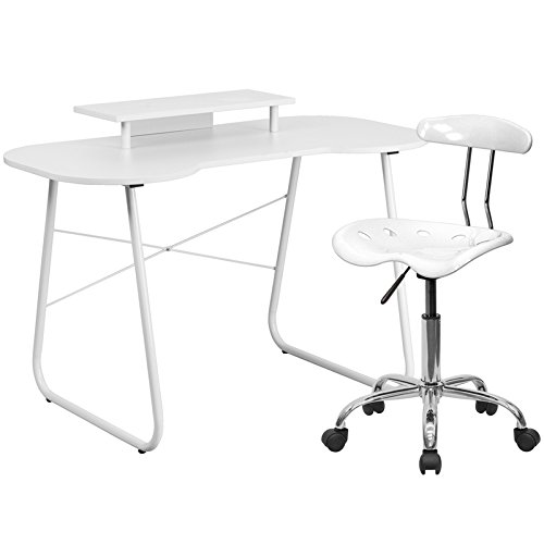 Flash Furniture Computer Desk With Monitor Stand And Tractor Chair, White