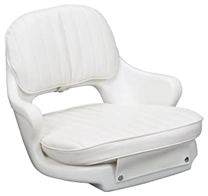 "Moeller Heavy Duty Standard Boat Helm Seat, Cushion, and Mounting Plate Set (24.5"" x 20"" x 16"", White)"