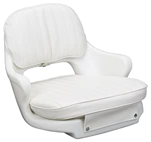 """Moeller Heavy Duty Standard Boat Helm Seat, Cushion, and Mounting Plate Set (24.5"""" x 20"""" x 16"""", White)"""