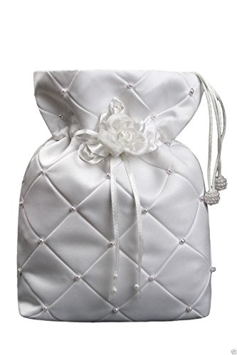 Unotux White Pearls Pattern Flower Purse Handbag Communion Bridal Formal Dress front-970495