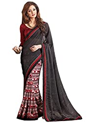 Exclusive Grey And Multicolor Weightless Material Printed Saree With Blouse
