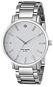 kate spade new york Women's 1YRU0095 Large Stainless Crystal Markers Gramercy Watch