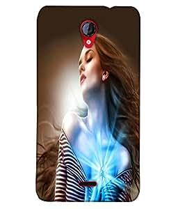 Fuson Sparkle Heart Girl Back Case Cover for MICROMAX UNITE 2 A106 - D4004