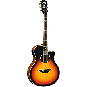 Yamaha APX500IIIVS Thin Line Acoustic/Electric Cutaway Guitar, Vintage Sunburst Bundle with Case, Quick Start DVD and Accessories from YAMAHA