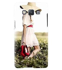 Printvisa Girl Walking On A Field Back Case Cover for Samsung Galaxy E5::Samsung Galaxy E5 E500F