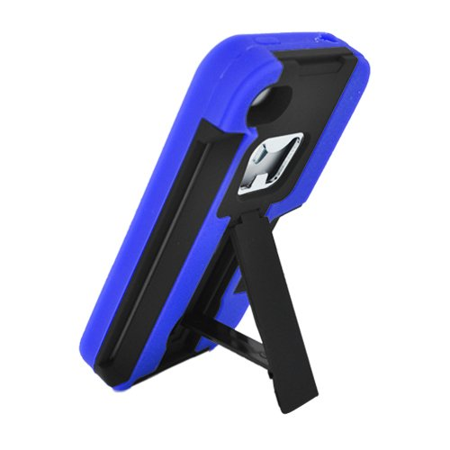 Cell Accessories For Less (Tm) Iphone 4/4S Armor 4 In1 W/Card Bottle Opener Stand Black Hard Case Blue Skin - By Thetargetbuys front-847356