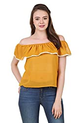 Brand Me Up women Solid Off Shoulder Top - XL Size (Mustard)