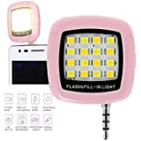 K/B Selfie Flash Light : 3.5mm Jack 16 LED Flash Light To Click Selfies/groufies - Pink Color