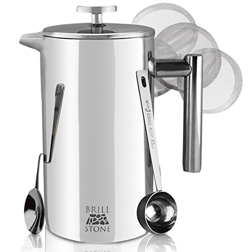 Professional French Press Coffee & Tea Maker Complete Bundle (1L - 8 Cups): 3 Items-French Press, Serving Scoop, Dessert Spoon & Ultra-Fine Filter Screens - Double-Wall Stainless Steel-Top Rated