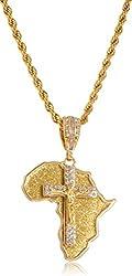 Goldtone or Silvertone - Sandblast Africa Shape & Jesus on Cross Medium Pendant with a 30 Inch 5mm Rope Chain