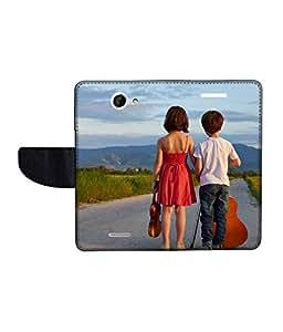 KolorEdge Printed Flip Cover For HTC Desire 516 -Multicolor (50KeMLogo11246HTC516)