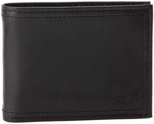 Dockers Mens Extra Capacity Leather Wallet, Black, One Size