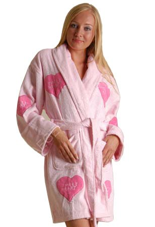 Women's Sweetheart Appliqued Cotton Terry Short Bathrobe