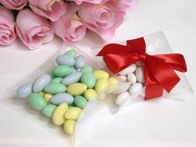 100 pcs CLEAR Pillow Gift BOXES for Wedding FAVORS - Plastic Candy Jars