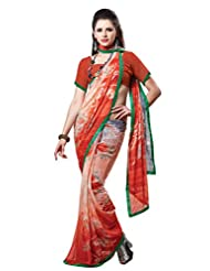 Indian Designer Sari Good-looking Floral Printed Faux Georgette Saree By Triveni