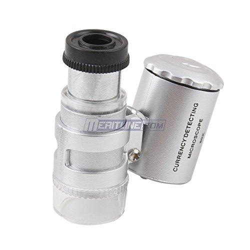 Magnifying Glass Marchmore 60X Led Microscope, Bright Led Jeweler'S Magnifier,Led Uv Light Pocket Microscope Jeweler Currency Magnifier Adjustable Loupe