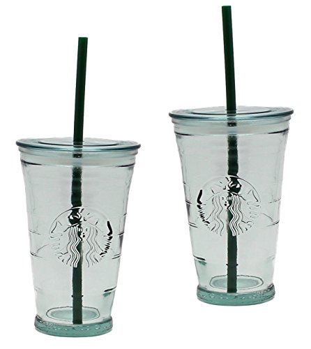Starbucks Recycled Glass Grande Cold Cup With Lid And Straw, Set Of 2