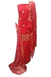 Lov Kush Unstiched Phulkari Salwar Suit (Red Blood)-Royal Touch
