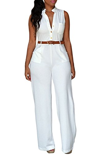 Roswear Women's Sexy Plunge V Neck Belted Wide Leg Jumpsuits Dress White X-Large
