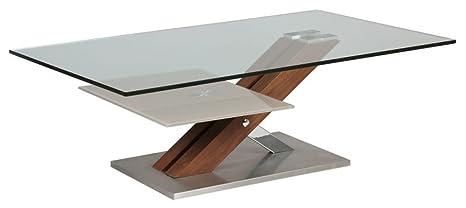 Table basse verre socle bois/métal, L.1200 X l.700 X Ht.400 mm -PEGANE-
