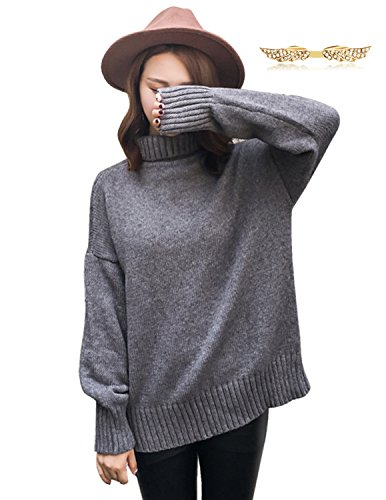 BYD Donna Maglioni Pullover Sciolto Accollato Tinta unita Maglione Maglieria Felpa Camicia Sweatshirt Outwear