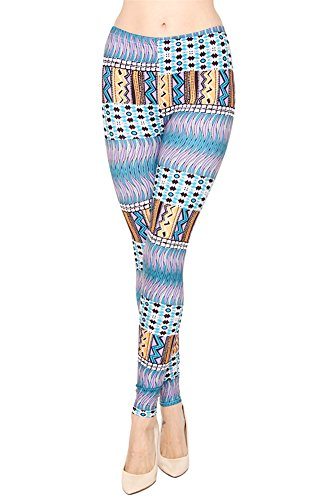 Women'S Tribal Print Brushed Leggings - Fashion Leggings - Clothing front-154043