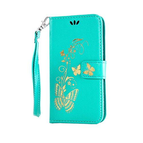 Coque pour Huawei Ascend Y550,Cozy Hut Élégant Style Bronzante Papillon Fleur motif,PU Cuir Flip Magnétique Portefeuille Etui Housse de Protection