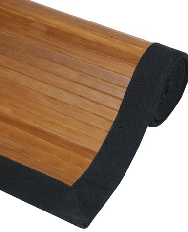 Sustainable Materials - Bamboo Area Rug Black Canvas Edge & Rubber Backing - Burnt - 5ft x 8ft