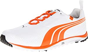 Puma Golf Footwear Mens Faas Lite Shoe,White/Vibrant Orange,11 D US