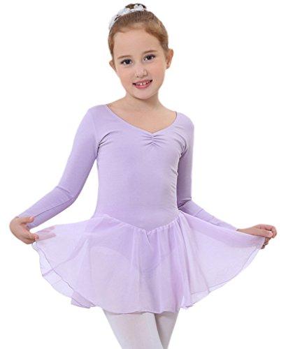 Happy Cherry Mädchen Langer ÄrmelBalletttrikot mit Chiffo Röckchen Ballettanzug Ballettkleid Größe 12 für Körpergröße 95-145cm - Rosa