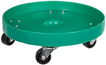 "Dixie Poly D-21-35 Plastic Drum Dolly for 35 gallon Drum, 600 lbs Capacity, 21.5"" Diameter x 6.5"" Height, Green"