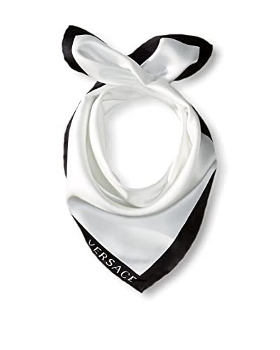 Versace Women's Plain Silk Scarf, White/Black